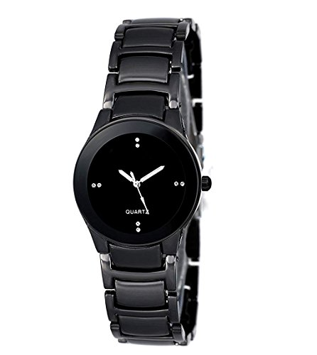 DAIZEL Round Dial Premium Quality Series Analogue Black Dial Black Stainless Steel Strape Fashion Wrist Watch for Women & Girls | DV-IIK-Small-BK