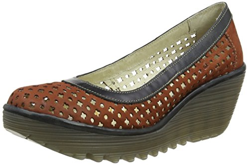 Fly London Yika733fly, Sandali con Zeppa Donna Red (brick/black 002)