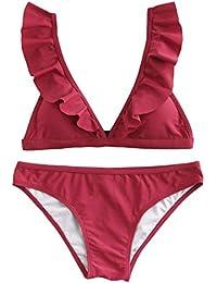 SOLYHUX Mujer Conjunto De Bikini con Detalle De Volante con Tirante Ajustable de baño Bikini,