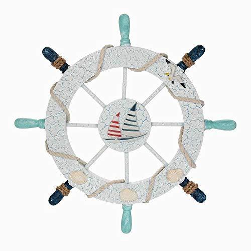 Hilai Nautische Strand hölzerne Boots Schiff Lenkrad Angeln Netz Schale Hauswand D é Cor (Doppel-Segel) (Schiff Hölzerne Lenkrad)