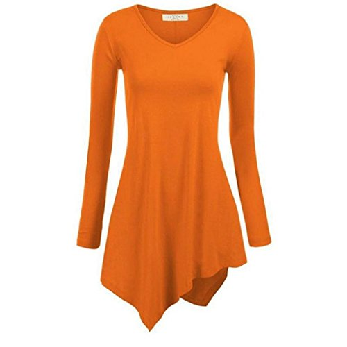 Minetom Femmes T-shirt Asymetrique de Base Tops Blouse Col rond Pull-over Hauts Tie-dye Orange