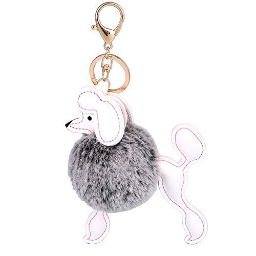 DaoRier Plüsch Ball Pudel Hund Anhänger Schlüsselanhänger Ornamente Brieftasche Handtasche Schlüsselhalter Schlüsselbund Schlüssel Schnalle Size 20 * 12cm (Grau) -