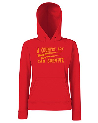 T-Shirtshock - Sweats a capuche Femme FUN1045 country boy can survive decal 61704 Rouge