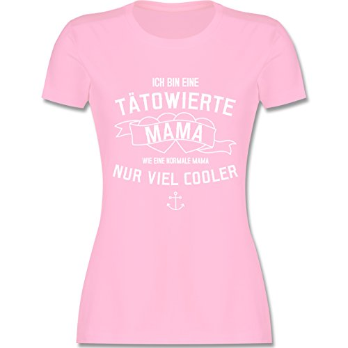 Shirtracer Muttertag - Ich Bin eine Tätowierte Mama - Damen T-Shirt Rundhals Rosa
