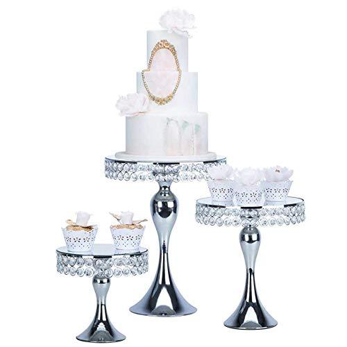 Présentoir à gâteau rond en métal doré/argenté avec perles de cristal et pendentifs, Silver, Taille M