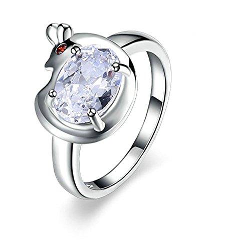 Beydodo Vergoldet Ringe Frauen Tier Huhn Hahn Zirkonia Weiß Verlobung Ringe Ehering Damenringe Silber (Tier Gabbana)
