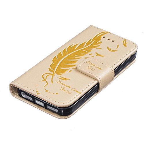 Für iPhone 6 6S Plus Hülle Flip Case,EMAXELERS iPhone 6S Plus Case,iPhone 6 Plus Case, iPhone 6S Plus Hülle Leder,Solid Feder Muster Hülle chutzhülle Case Cover Etui Schale mit Standfunktion Kartenfäc Feather 5