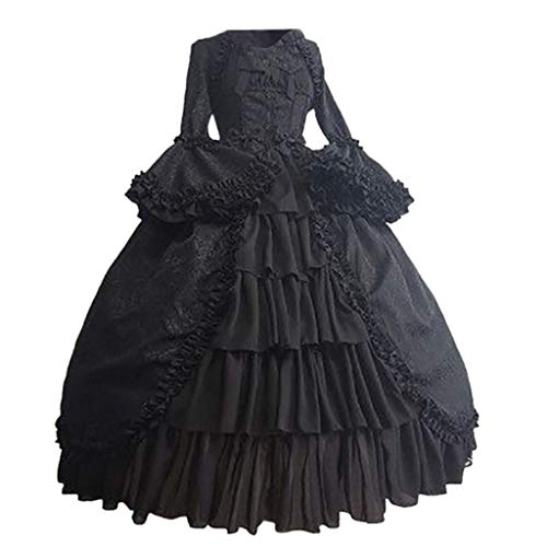 Writtian Halloween Damen Mittelalterliche Kleid mit Trompetenärmel Mittelalter Party Kostüm Minikleid Cosplay Gothic Retro Kleid Party Kostüm Viktorianischen Königin Kleider Kleidung Partykleider (Zombie Kostüm Selbstgemacht)