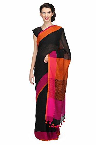 The Weave Traveller Linen Saree With Blouse Piece (Twt_L_Blk_144_Black_Free Size)