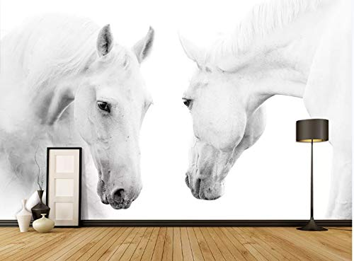 Gigante Muro 3D Fotomurali Poster Astratto geometrico Due cavalli bianchi per camera da letto soggiorno