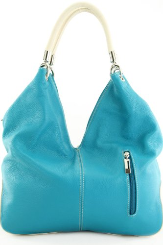 modamoda de - ital. Ledertasche Handtasche Shopper Damentasche Schultertasche Leder 330 Türkis/Creme