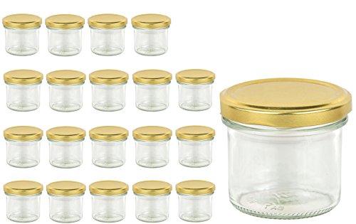 20 Sturzgläser 125 ml Marmeladengläser Einmachgläser Einweckgläser To 66 Gold Test