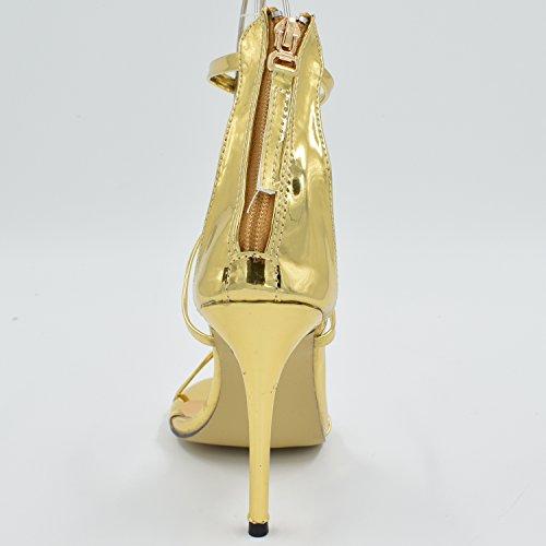 Oasap Elegante Knöchelriemen Pfennigabsatz Sandalen Golden
