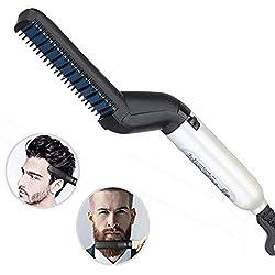 Peigne électrique pour homme, peigne lissant pour cheveux et barbe, coiffure pour homme, modelage flexible, démêlage naturel des cheveux latéraux
