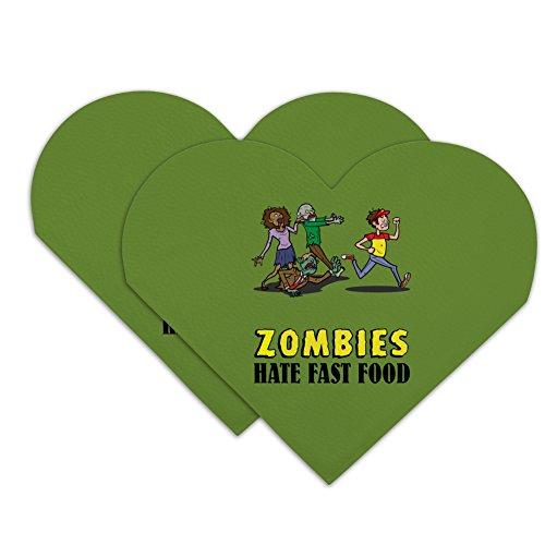 Lesezeichen, Motiv: Zombies Hate Fast Food, lustiges Herz, Kunstleder, 2 Stück