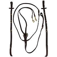 Horka Full Pony, piel Riendas webband Dos Loop ayuda de entrenamiento Strong calidad, negro/plata