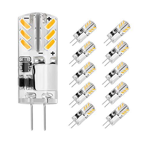 Jpodream® G4 LED Lampe, 3W 24 * 4014 SMD Energiesparlampen, 300LM, Ersatz für 30W Halogenlampen, Warmweiß 3000K, 12V AC/DC - Kein Flimmern, 10 Pack (Kurze 30w)