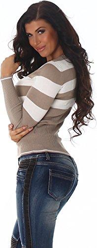 Jela London Damen Pullover Longpulli Strickkleid Pullikleid Streifen V-Ausschnitt Stretch Slim-Fit 34 36 38 Kurz - Braun