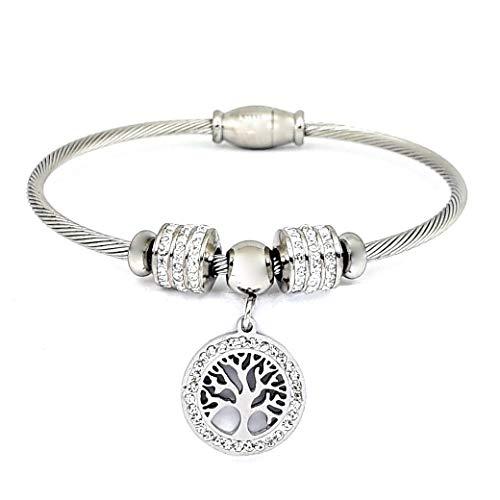 Saga gioielli bracciale albero della vita acciaio cristalli festa della mamma