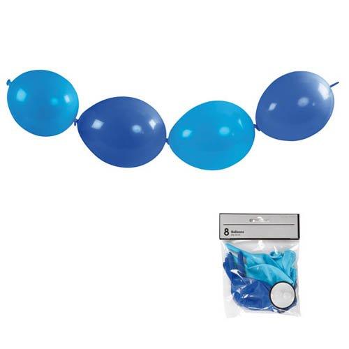 Ketten Luftballons, blau, 8 Stk. - Girlande Deko Kindergeburtstag Karneval Fasching
