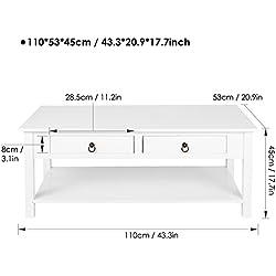 Homfa Table Basse Simple Table de Salon en MDF Laqué avec Deux Tiroirs Blanc 110 * 53 * 45,5CM