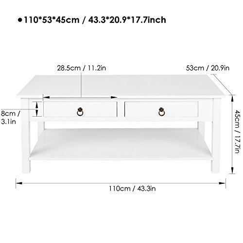 Homfa Couchtisch Wohnzimmertisch 110x53x45cm Beistelltisch Sofatisch Kaffeetisch Holz weiß
