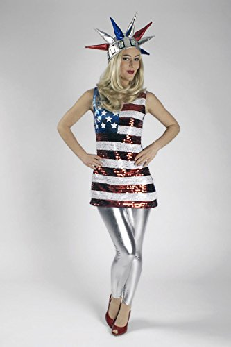 Damen Kostüm Pailletten Top Amerika US Flagge Karneval Gr.40/42
