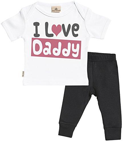 SR - I Love Daddy Bekleidungssets - Weiß Baby T-Shirt & Schwarz Baby-Jerseyhose - Baby T Shirt & Baby Hosen Babyoutfit - 0-6 Monate (Baby T-shirt Love Daddy)