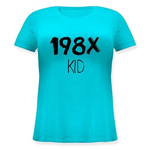 Geburtstag - 198X Kid Vintage - Lockeres Damen-Shirt in großen Größen mit Rundhalsausschnitt Türkis