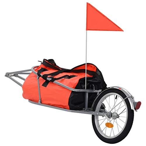 vidaXL Gepäck Fahrradanhänger mit Tasche Fahrrad Anhänger Transportanhänger Lastenanhänger Handwagen Orange Schwarz Tragkraft 30 kg Wasserdicht