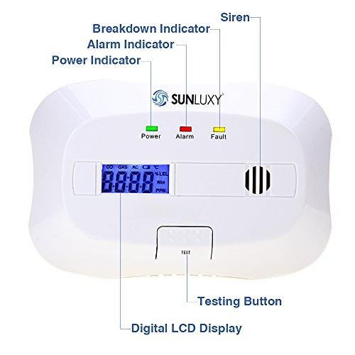 SUNLUXY CO Alarm CO Melder Kohlenmonoxid-Detektor & Feueralarm mit Optischer Sensor batteriebetrieben weiß - 3