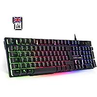 Empire Gaming K300 PC Keyboard QWERTY– 105 semi-mechanical keys, including 19 anti-ghosting keys 12 multimedia hotkeys LED RGB Back-Lighting