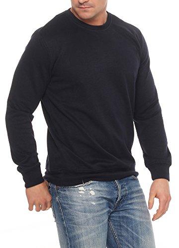 Benter Herren Pullover Sweatshirt mit Rundhalskragen unifarbener Basic Baumwollpullover Regular Fit 16945 Navy