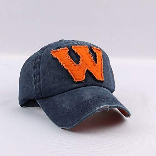 zhuzhuwen Distressed Wash Letter Stickerei Bestickt Baseball Cap Herren Retro Cap Hut 6 einstellbar