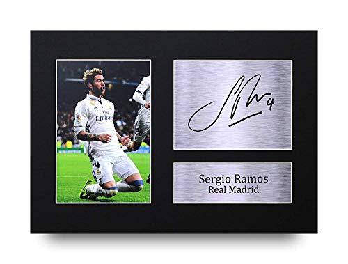 HWC Trading Sergio Ramos A4 Sin Marco Regalo De Visualización De Fotos De Impresión De Imagen Impresa Autógrafo Firmado por Real Madrid Los Aficionados Al Fútbol