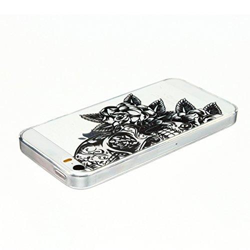 Cover iPhone 5 Custodia iPhone 5s Silicone Anfire Morbido Flessibile TPU Gel Case Cover per Apple iPhone 5/5s/SE (4.0 Pollici) Ultra Sottile Clear Trasparente 3D Copertura Antiurto Bumper Protettivo S Cranio Rose