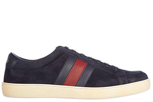 Gucci scarpe sneakers uomo camoscio nuove softy tek blu EU 40 337222 CKKA0 4064