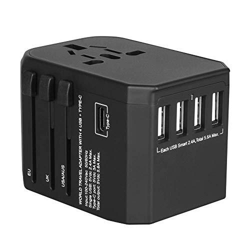 Reiseadapter Reisestecker 224+ Ländern 5.6A Fast Charge Weltweit Universal Travel Adapter mit 4 USB Ports+Typ C und AC Steckdosen Internationale Reiseadapter für USA UK Deutschland Australien Usw (I Bis 4 Phone 5 Von Converter)