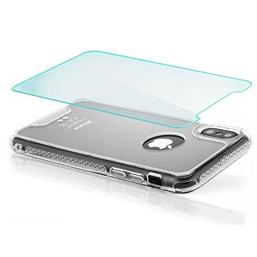 zanasta Hülle iPhone X Case + Panzerglas TPU Schutzhülle mit Rahmen, Silikon Back Cover mit Plexiglas Rückseite Schwarz Transparent