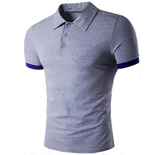 Tefamore Hommes T-shirts manches courtes à Chemises (XL, Gris)
