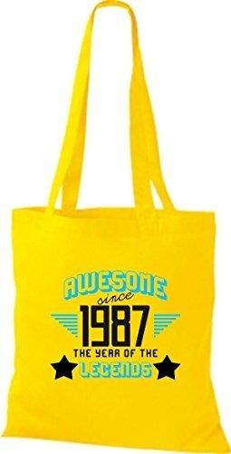 shirtstown Borsa di stoffa Impressionante SINCE 1987 The Year of the LEGGENDE giallo dorato