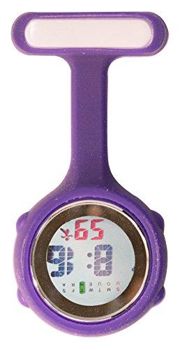 Ellemka JCM-330 - Digitale Schwesternuhr Clip zum Anstecken FOB Kittel Silikon Krankenschwester Pflege-r Quarz Puls-Uhr Taschen Ansteck-Nadel Fashion Trend Design Farbe Blau Navy Blue - OVP
