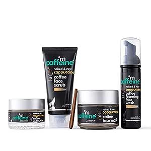 mCaffeine Acne Control & Exfoliation Kit - Cappuccino Coffee Routine | Face Wash, Face Scrub, Face Mask, Moisturizer | All Skin Types | Cruelty Free & Vegan