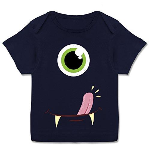 Karneval und Fasching Baby - Monster Gesicht Kostüm - 56-62 (2-3 Monate) - Navy Blau - E110B - Kurzarm Baby-Shirt für Jungen und Mädchen