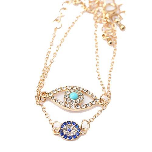 Sungpunet Türkei Fatima-schlechte Augen-Halskette Türkis Kristall Strass Halskette Kette Glaube schützt Frauen und Mädchen Glück Schmuck (Thanksgiving-die Türkei Hat)