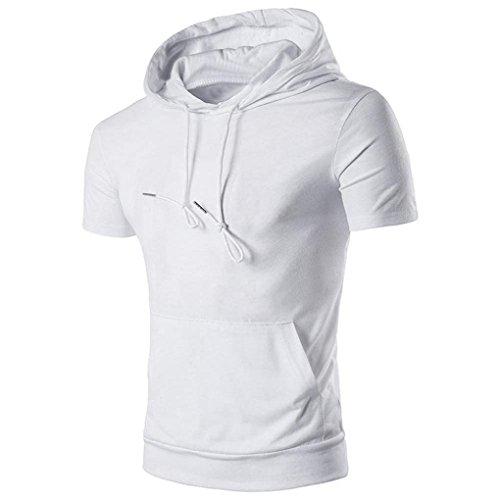 Sommer Lässige Oberteile Herren Mit Kapuze Amlaiworld Kurzarm T Shirt Bluse (Weiß, S)