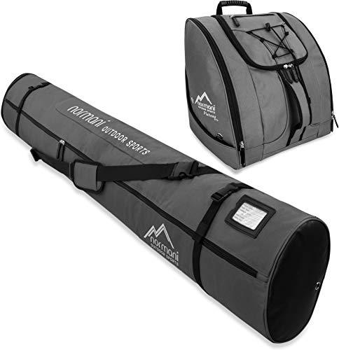 normani Kombi Skitaschen Set bestehend Verstellbarer Ski-Tasche 160-190cm und Zubehörtasche für Schuhe, Helm und weiteres Equipment Farbe Anthrazit -