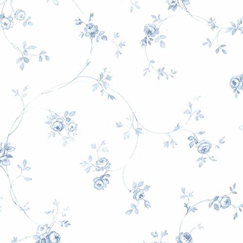 Essener Floral Prints Vinyltapete PR33826 Weiß Blau Hellblau Blumen Landhaus Vintage Floral Blumen-print-tapete