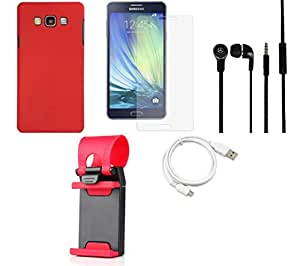 Tempered Glass Screen Guard Cover Case Headphone USB Cable for Samsung Samsung Galaxy A7 - Combo