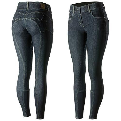 netproshop Damen Jeans Stretch Reithose mit Vollbesatz und Silikon Grip, Groesse Damen:38, Farbe:dunkelblau